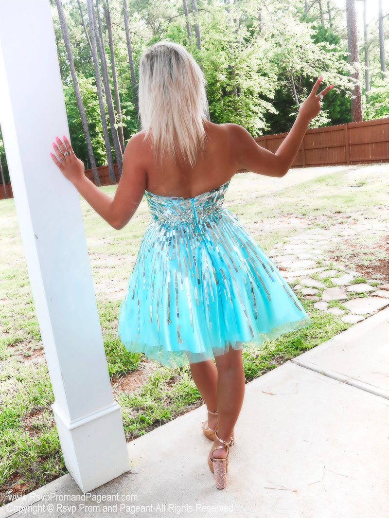 Back of Aqua/Silver Strapless Short Homecoming Dress at Rsvp Prom and Pageant, Best prom dress store, Atlanta, GA