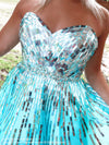 Bodice of Aqua/Silver Strapless Short Homecoming Dress at Rsvp Prom and Pageant, Best prom dress store, Atlanta, GA