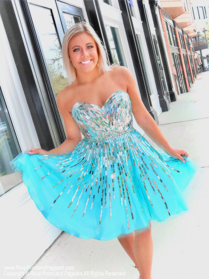 Aqua/Silver Strapless Short Homecoming Dress at Rsvp Prom and Pageant, Best prom dress store, Atlanta, GA