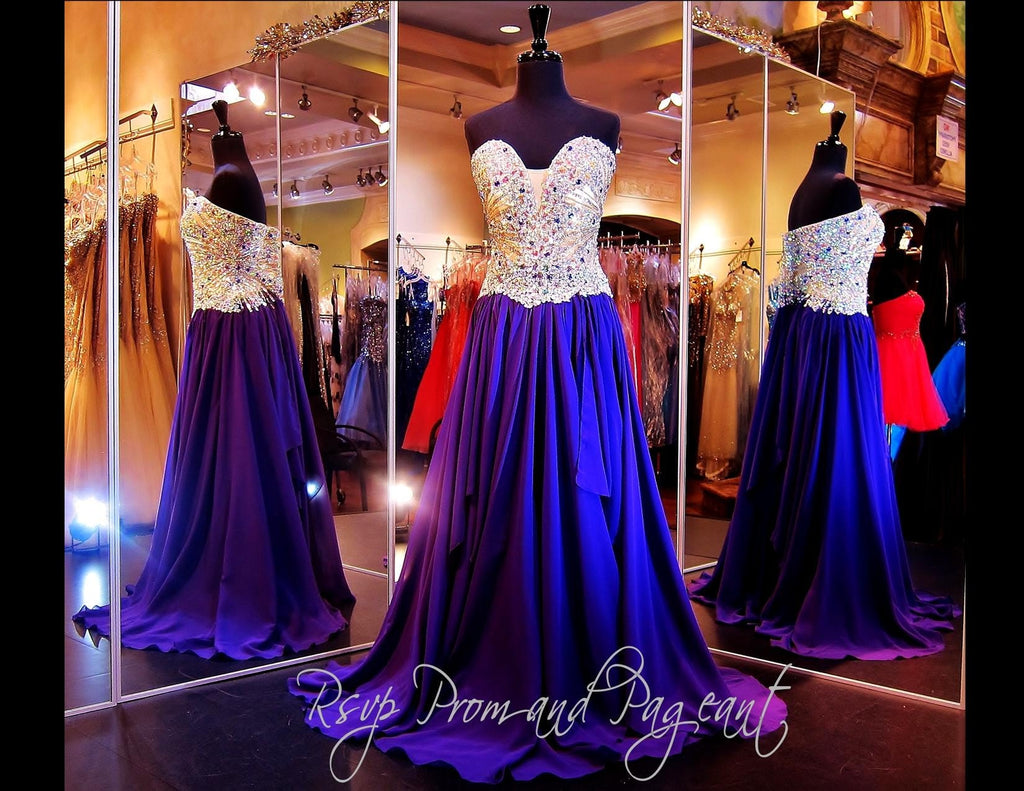 Purple Strapless Long Dress - Rsvp Prom and Pageant, Atlanta, GA