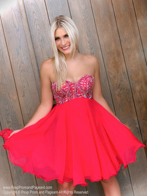 Model in front of door in delicate Strapless Red Chiffon Short Homecoming Dress at Rsvp Prom and Pageant, best prom dress store, Atlanta, Georgia