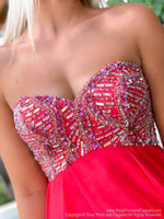 Bodice close-up of delicate Strapless Red Chiffon Short Homecoming Dress at Rsvp Prom and Pageant, best prom dress store, Atlanta, Georgia