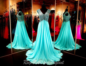 Aqua V Neck Chiffon Prom Dress - Rsvp Prom and Pageant, Atlanta, GA