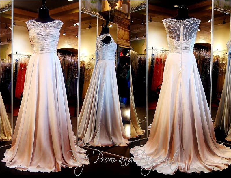 Coffee High Neckline Chiffon Long Dress - Rsvp Prom and Pageant, Atlanta, GA