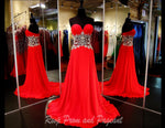 Strapless Red Chiffon Long Dress - Rsvp NC - Long Gown - Rsvp Prom and Pageant Atlanta, Georgia GA - 1