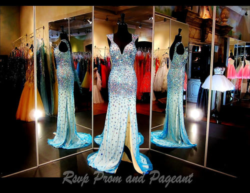 Turquoise Evening Gown-Multi Colored Stones-Cap Sleeves-Slit-115VP0JHA0420 / Rsvp Prom and Pageant, Atlanta, GA / Best Prom Store in Atlanta / #Promheaven