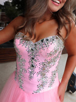 Pink Sweetheart Neckline Ball Gown Prom Dress