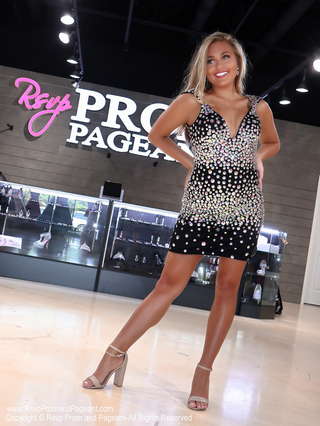Model in the Rsvp store in Dazzling Black AB Stone V-Neck Short Homecoming Dress at Rsvp Prom and Pageant, Johns Creek, Georgia
