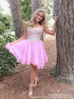 Strapless Beaded Pink Short Homecoming Dress at Rsvp Prom and Pageant, best prom dress store, Atlanta, Georgia