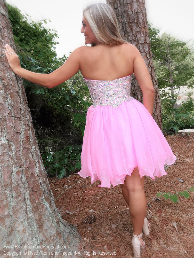 Back of Strapless Beaded Pink Short Homecoming Dress at Rsvp Prom and Pageant, best prom dress store, Atlanta, Georgia