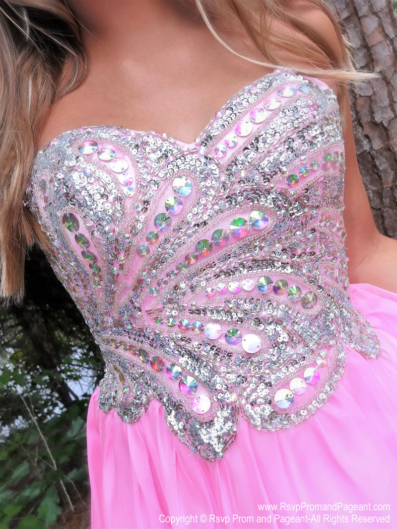 Bodice of Strapless Beaded Pink Short Homecoming Dress at Rsvp Prom and Pageant, best prom dress store, Atlanta, Georgia