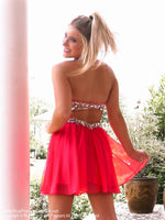 Back of model in Adorable Little Dress Perfect for Homecoming at Rsvp Prom and Pageant, the best prom dress store located in metro Atlanta, GA and also known as Promheaven!
