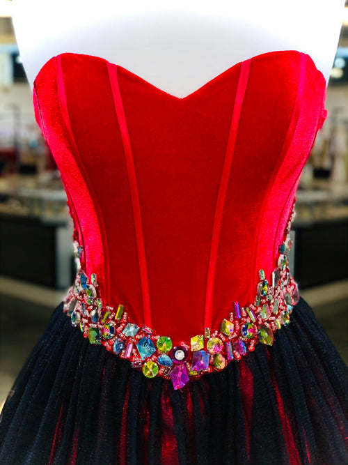 "Red/Black Velvet Corset Homecoming Dress - USE ""OMG50"" FOR AN ADDITIONAL 50% OFF"