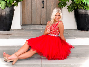 Beautiful model in Red Lace Short Dress at Rsvp Prom and Pageant, best prom dress store, Atlanta, Georgia