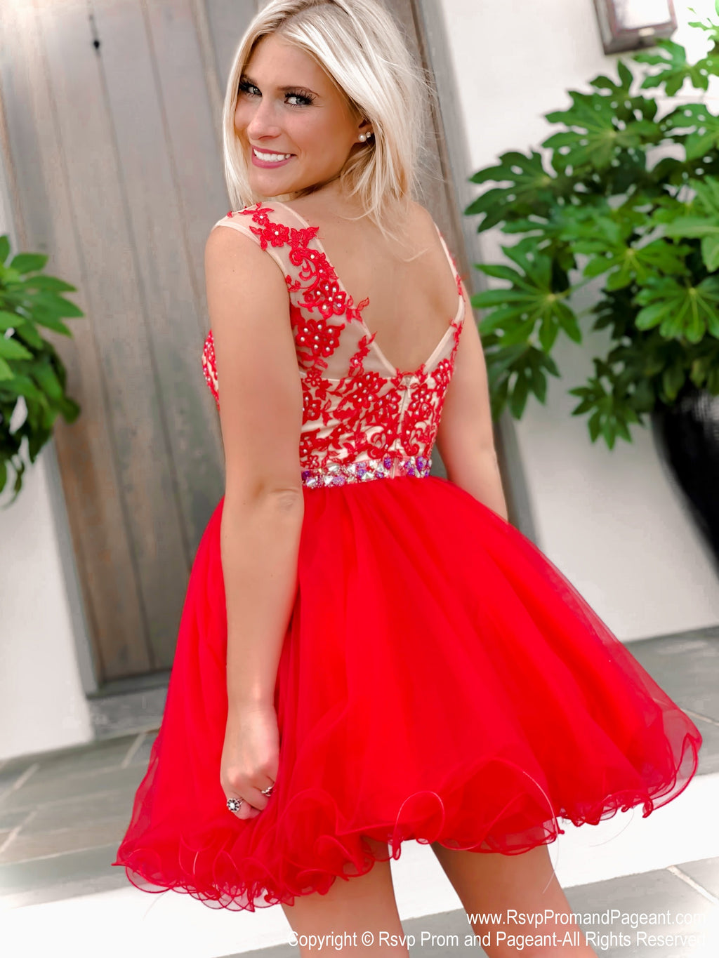 Red Lace Short Dress at Rsvp Prom and Pageant, best prom dress store, Atlanta, Georgia