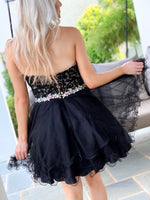 Back of model in Adorable Black Lace Short Homecoming Dress at Rsvp Prom and Pageant, best prom dress store, Atlanta, Georgia