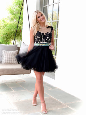 Black High Neckline Lace Tulle Homecoming Dress at Rsvp Prom and Pageant, Best Prom Store, Atlanta, GA