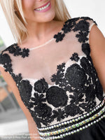 Bodice of Black High Neckline Lace Tulle Homecoming Dress at Rsvp Prom and Pageant, Best Prom Store, Atlanta, GA