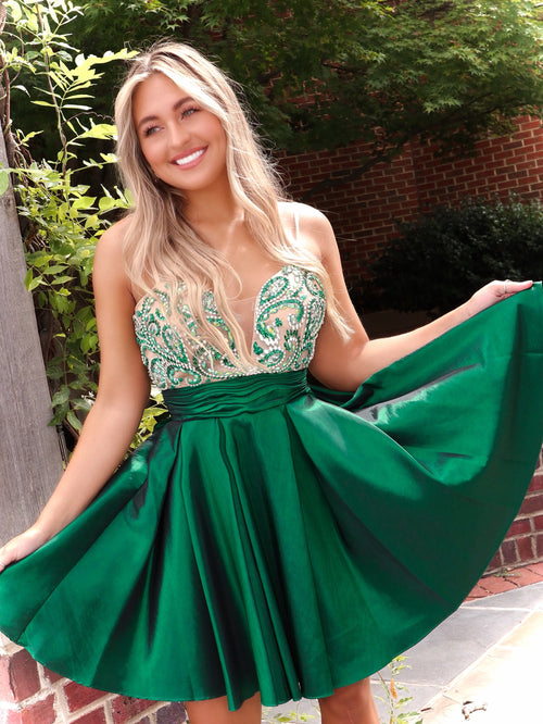 "Emerald Green Short Homecoming Dress - USE ""OMG50"" FOR AN ADDITIONAL 50% OFF"