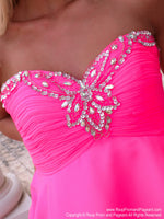 Bodice of Flirty Bubblegum Pink Chiffon Short Dress at Rsvp Prom and Pageant, Best prom dress store, Atlanta, Georgia