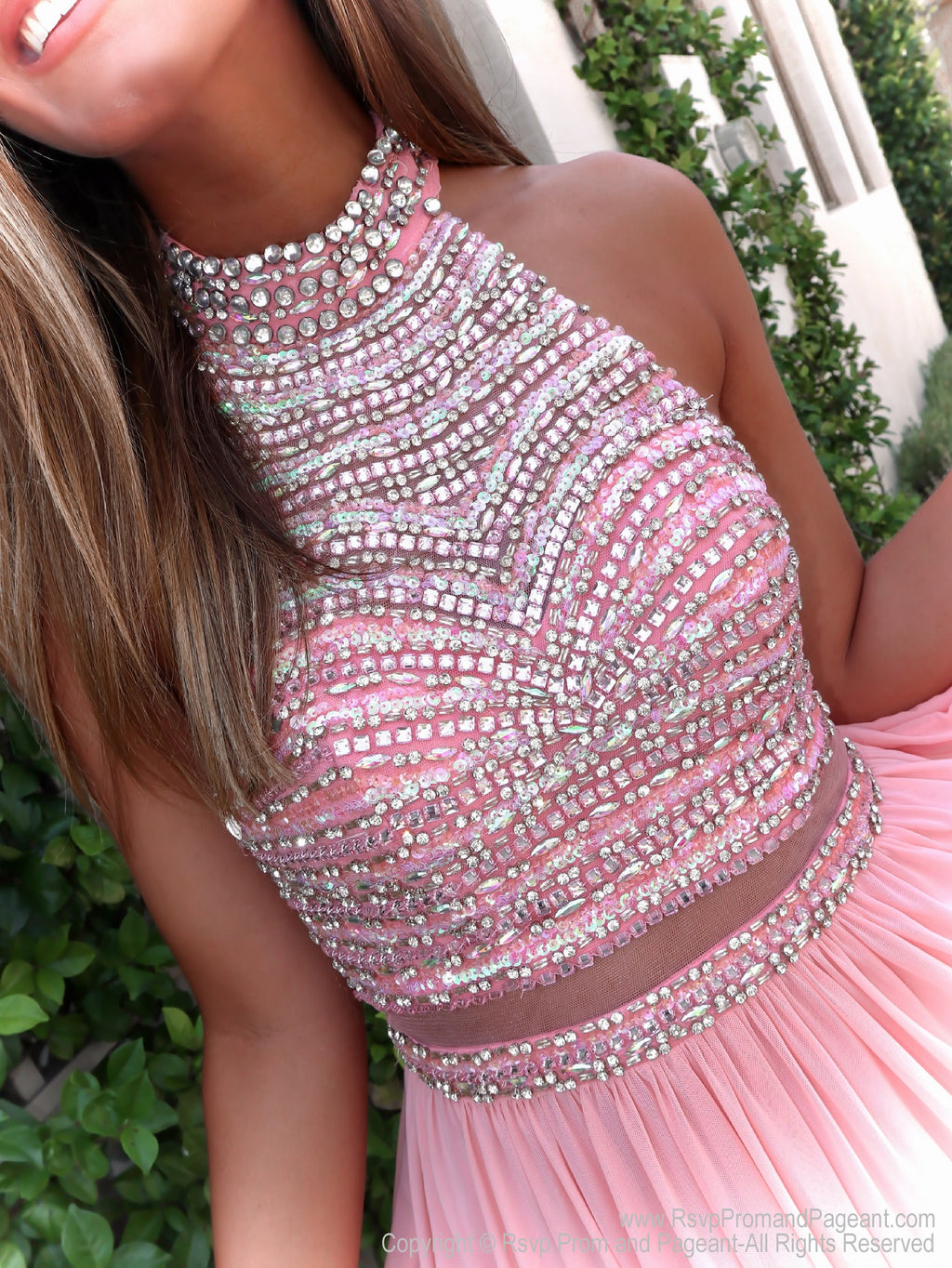 Close-up of beaded bodice of Awesome Chiffon Short Dress with Beaded Top at Rsvp Prom and Pageant, your source for the hottest prom, pageant and homecoming dresses, Atlanta, GA