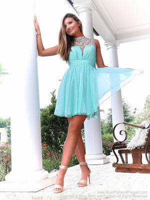 Beautiful model standing on step in Adorable Mint High Illusioned Neckline Homecoming Dress at Rsvp Prom and Pageant, best prom dress store, Atlanta, Georgia