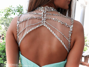 Closeup of back of Adorable Mint High Illusioned Neckline Homecoming Dress at Rsvp Prom and Pageant, best prom dress store, Atlanta, Georgia