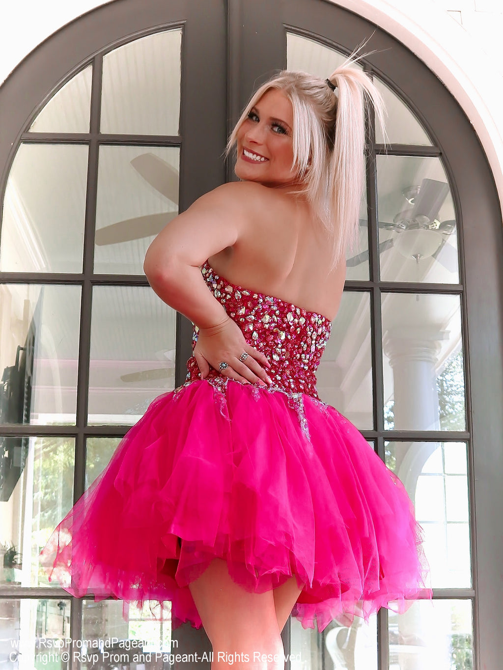 Back of Fuchsia Beaded Strapless Homecoming Dress at Rsvp Prom and Pageant, best prom dress store, Atlanta, GA