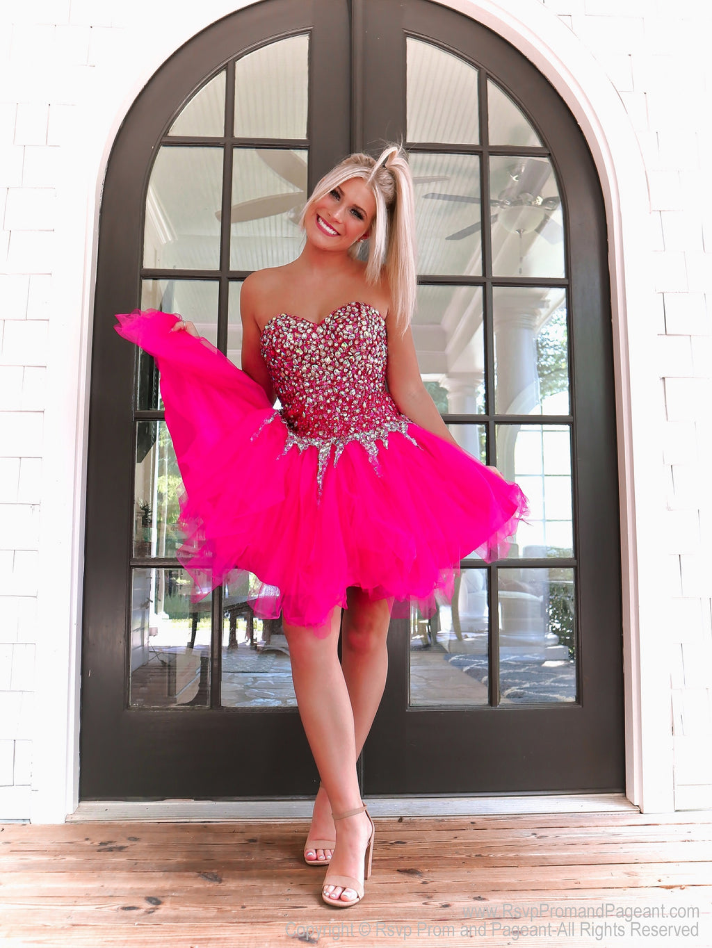 Fuchsia Beaded Strapless Homecoming Dress at Rsvp Prom and Pageant, best prom dress store, Atlanta, GA