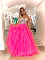 Pink Sweetheart Neckline Ball Gown