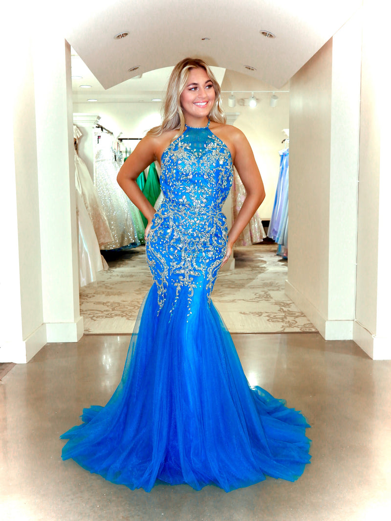 Turquoise High Neckline Fully Beaded Prom Dress