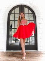 Red Embellished Sweetheart Short Homecoming Dress at Rsvp Prom and Pageant, Best Prom Dress Store, Atlanta, Georgia