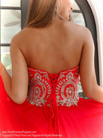 Lace up Back of Red Embellished Sweetheart Short Homecoming Dress at Rsvp Prom and Pageant, Best Prom Dress Store, Atlanta, Georgia