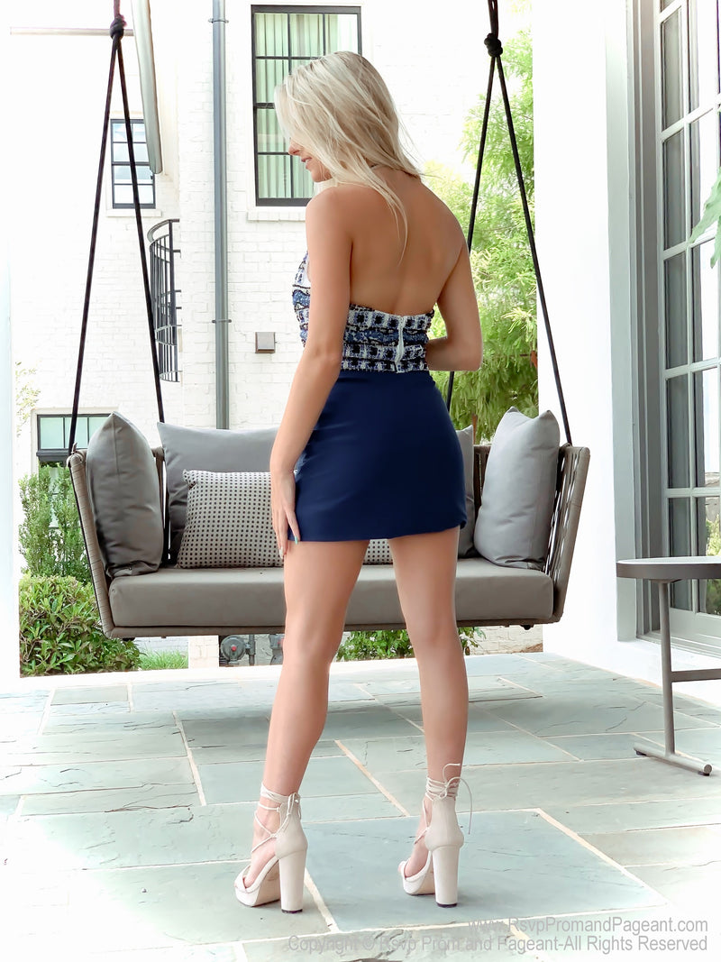 Back of Navy Two Piece Halter Short Homecoming Dress at Rsvp Prom and Pageant, best prom dress store, Atlanta, Georgia