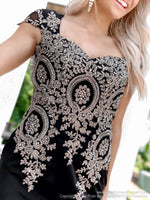 Bodice of Black/Gold Form Fitting Cap Sleeved Homecoming Dress at Rsvp Prom and Pageant, best prom dress store, Atlanta, GA