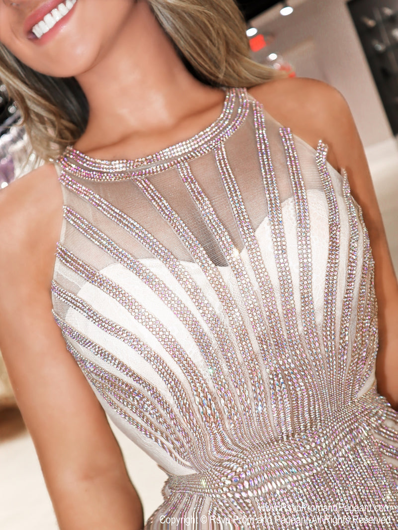 Closeup of Model in a Gold Sophistication at its Best Short Dress at Rsvp Prom and Pageant, the best prom dress store located in Atlanta, Georgia