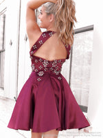 Back of Burgundy Satin High Neckline Beaded Short Dress at Rsvp Prom and Pageant, Atlanta, GA
