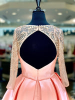 "Blush Long Sleeved Open Back Short Homecoming Dress - USE ""OMG50"" FOR AN ADDITIONAL 50% OFF"