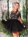 Smiling model in this Adorable Long Sleeved Lace Short Homecoming Dress at Rsvp Prom and Pageant, the most visited prom dress store located in Atlanta, Georgia!