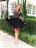 Model in this Adorable Long Sleeved Lace Short Homecoming Dress at Rsvp Prom and Pageant, the most visited prom dress store located in Atlanta, Georgia!