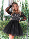 Closeup of model in this Adorable Long Sleeved Lace Short Homecoming Dress at Rsvp Prom and Pageant, the most visited prom dress store located in Atlanta, Georgia!