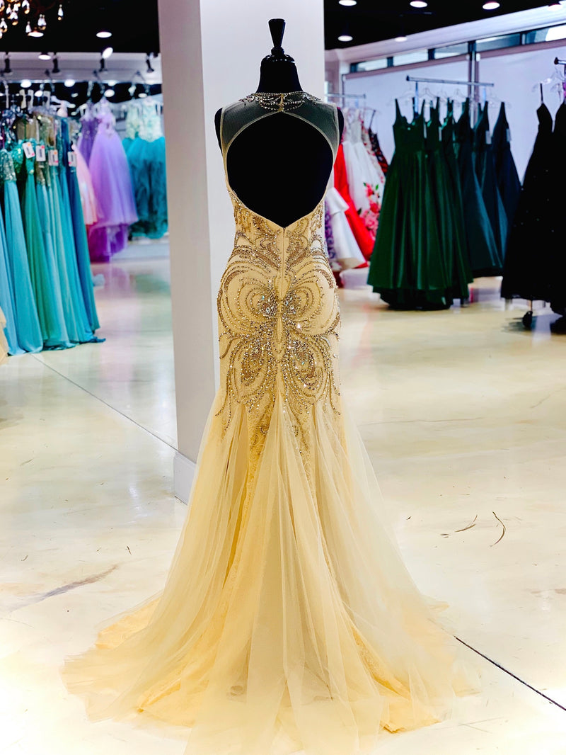 Champagne Mermaid Open Back Prom Dress