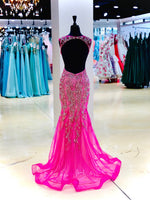 Fuchsia Fully Beaded Fitted Prom Dress with Slit