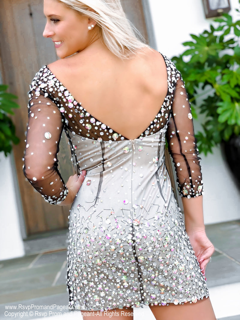 Back of Nude/Black AB Stone Sleeved Short Homecoming Dress at Rsvp Prom and Pageant, best prom dress store, Atlanta, GA
