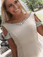 "Taupe Low Back Short Homecoming Dress - USE ""OMG50"" FOR AN ADDITIONAL 50% OFF"