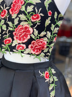 "Black Floral Two Piece Pockets Short Homecoming Dress - USE ""OMG50"" FOR AN ADDITIONAL 50% OFF"