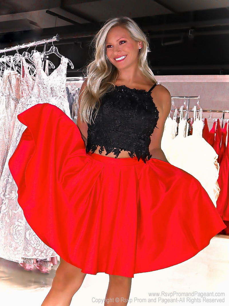 Model in Adorable Short Homecoming Dress with Pockets and Lace Top at Rsvp Prom and Pageant, best prom dress store located in Atlanta, Georgia
