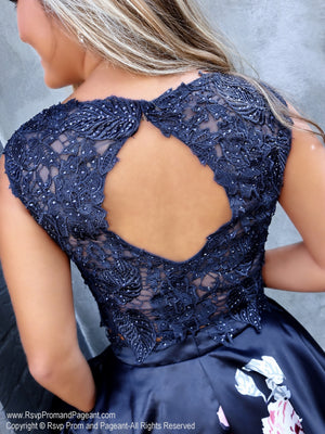 Closeup of back of crop top of Adorable Two Piece with Lace Top and Floral Skirt with Pockets Short Homecoming Dress at RsvpProm and Pageant, best prom dress store located in Atlanta, Georgia