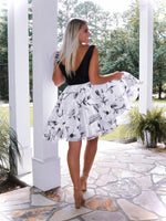 "Black And White V-Neck Floral Short Cocktail Dress - USE ""OMG50"" FOR AN ADDITIONAL 50% OFF"