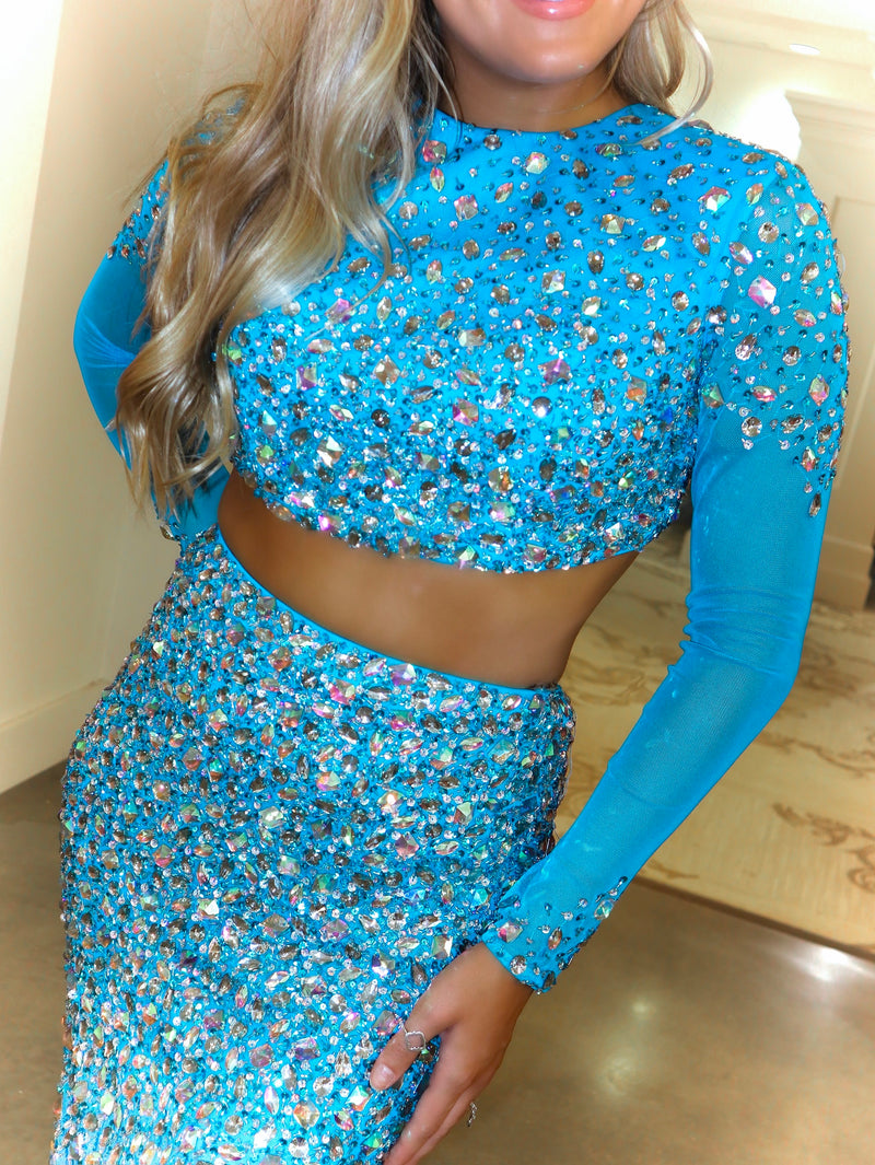 Turquoise Long Sleeved Fully Beaded Two Piece Prom Dress